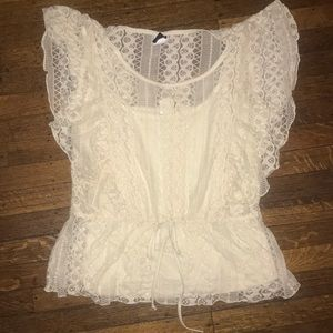 Beautiful Beige Crochet Lace Blouse